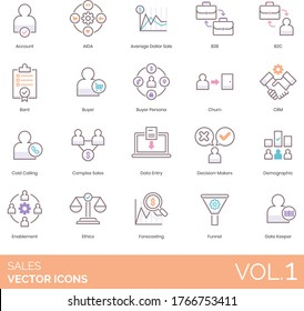 Sales icons including account, AIDA, average dollar, b2b, b2c, BANT, buyer persona, churn, CRM, cold calling, complex, data entry, decision maker, demographic, enablement, ethics, forecasting, funnel.