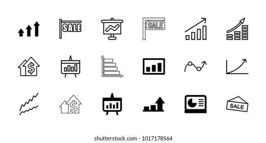 Sales icons. set of 18 editable outline sales icons: graph, chart, chart on display, sale, money growth, dolar growth
