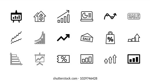 Sales icons. set of 18 editable outline sales icons: graph, chart, ticket on sale, dolar growth, sale, shopping sale, chart on display, money growth