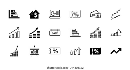 Sales icons. set of 18 editable filled and outline sales icons: money growth, graph, dolar growth, ticket on sale, sale, sale tag, chart