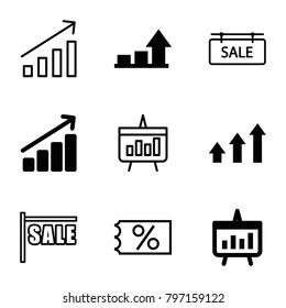 Sales icons. set of 9 editable outline sales icons such as graph, chart, sale, ticket on sale