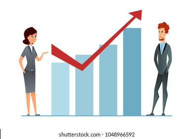 Sales increase. Income grow. Business Woman and businceeman against financial graph presents business strategy success. Worker show commercial plan and future return. Cartoon vector illustration