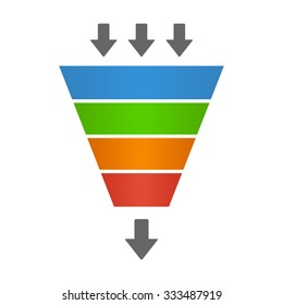 Sales lead funnel flat vector icon with arrows for presentation apps and websites