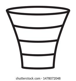 Sales lead funnel process diagram line art vector icon for business apps and websites