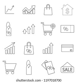 Sales line icons set, outline design. Money growth, graph, dolar growth, ticket on sale, sale tag, chart. Thin line vector set of signs for infographic, logo, app development and website design