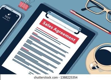 Sales Management Concept with Clipboard, Modern Smartphone, Ball Pen and Glasses. Flat Lay, Top View. Vector Halftone Isometric Illustration.