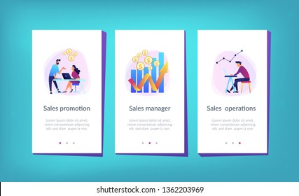 Sales managers with laptops and growth chart. Sales growth and manager, accounting, sales promotion and operations concept on white background. Mobile UI UX GUI template, app interface wireframe