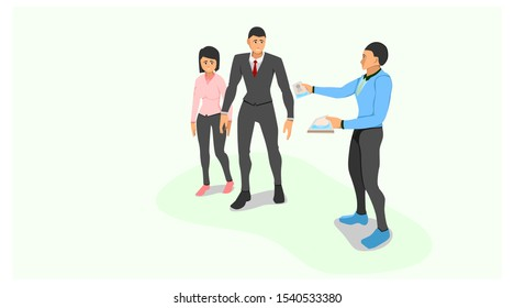 a sales marketing gives a brochure to a couple who is walking in front of him. share advertisements with brochure paper media. face to face promotion offers products.