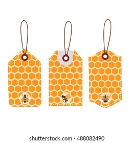 Sales price tag.Stickers honey comb and bee design.vector illustrator.