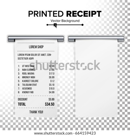 Sales Printed Receipt Vector Bill Atm Stock Vector Royalty Free