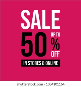 Sales promo up to 50% off in stores and online , Seasonal advertising banners, flyers, labels. white,black and rose.
