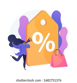 Sales promotion cartoon web icon. Marketing strategy, rebate advertising, discount offer. Low price idea. Clearance sale, customer attraction. Vector isolated concept metaphor illustration