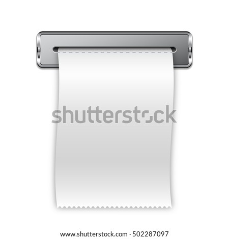 sales receipt printed receipt bill atm stock vector royalty free