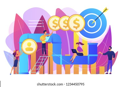 Sales reps and managers analyze sales pipeline. Sales pipeline management, representation of sales prospects, customer prospects lifecycle concept. Bright vibrant violet vector isolated illustration