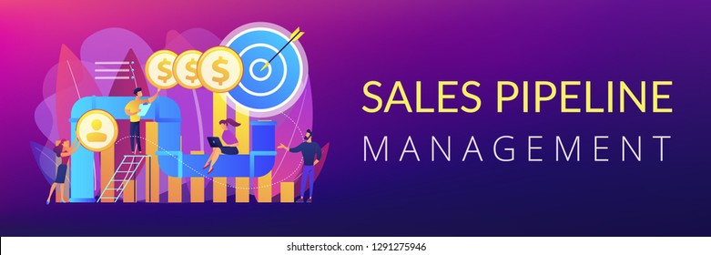 Sales reps and managers analyze sales pipeline. Sales pipeline management, representation of sales prospects, customer prospects lifecycle concept. Header or footer banner template with copy space.