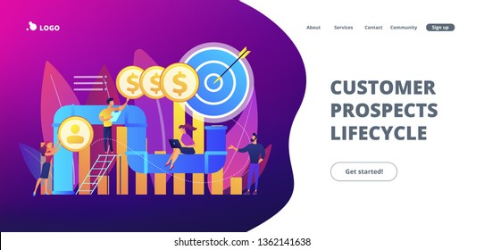 Sales reps and managers analyze sales pipeline. Sales pipeline management, representation of sales prospects, customer prospects lifecycle concept. Website vibrant violet landing web page template.