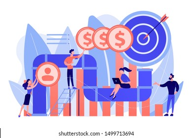 Sales reps and managers analyze sales pipeline. Sales pipeline management, representation of sales prospects, customer prospects lifecycle concept. Living coral bluevector isolated illustration