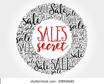 Sales Secret circle word cloud, business concept background