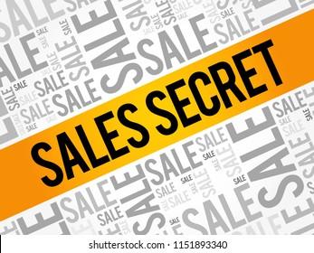 Sales Secret word cloud collage, business concept background