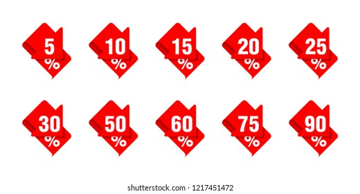 Sales tag markers with red arrow down in ribbon form with and different percentage - 5%, 10%, 15%, 20%, 25%, 30%, 50, 60, 75 and 90 percents
