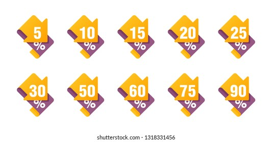 Sales tag markers with yellow arrow down in ribbon form and different percentage - 5%, 10%, 15%, 20%, 25%, 30%, 50, 60, 75 and 90 percents
