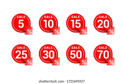 Sales tags in rounded decoration with arrow down and different percentage - 5%, 10%, 15%, 20%, 25%, 30% 50% and 75% - vector marketing elements set