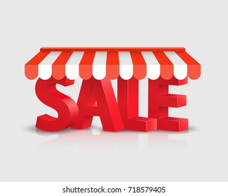 Sales text store striped awning 3d art. Vector illustration