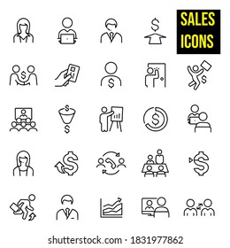 Sales Thin Line Icons -  stock illustration. male and female sales people, salesman working on computer, male salesman with headset, female sales person with headset, salesman making a deal.