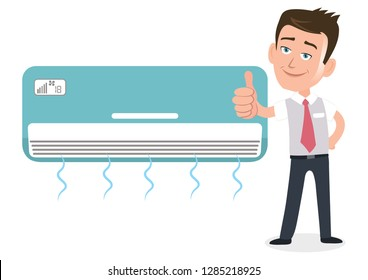 salesman businessman user customer giving a big thumbs up in front of air conditioner ac
