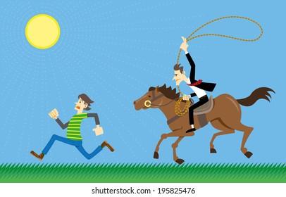 Salesman chasing clients like a cowboy.