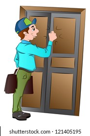 Salesman Knocking on a Door, vector illustration