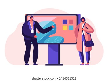 Salesman Presenting to Customer Television Technique. New Smart Technologies, Consumerism, Presentation in Shop, Expo or Fair Exhibition Promotion, Advertising. Cartoon Flat Vector Illustration