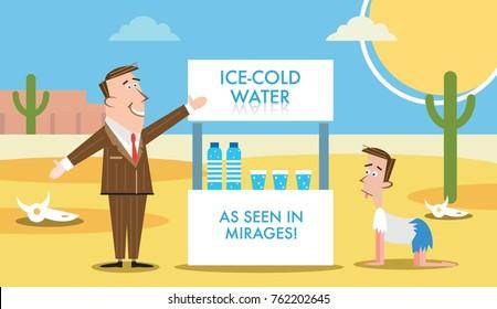 Salesman selling water in desert to thirsty man