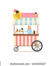 Salesperson in ice cream store vector, shop selling desserts with different flavours and toppings, woman with food for summer season isolated flat style