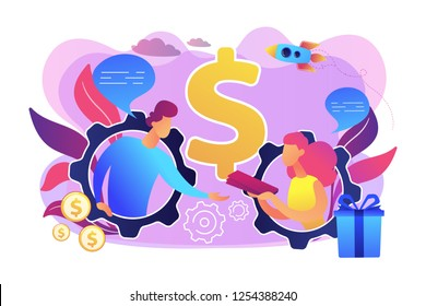 Salesperson trying to persuade customer in buying product. Personal selling, face-to-face selling technique, sales method trends concept. Bright vibrant violet vector isolated illustration