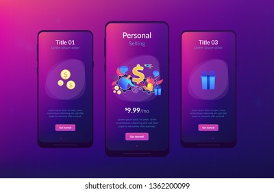 Salesperson trying to persuade customer in buying product. Personal selling, face-to-face selling technique, sales method trends concept. Mobile UI UX GUI template, app interface wireframe