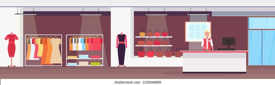 saleswoman at cash desk counter big fashion shop. super market female clothes shopping mall interior modern boutique horizontal banner flat