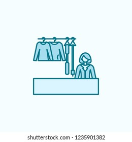 saleswoman of clothes 2 colored line icon. Simple colored element illustration. saleswoman of clothes outline symbol design from shopping mall set