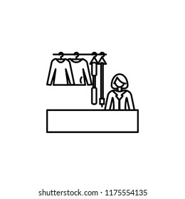 saleswoman of clothes outline icon. Element of shopping icon for mobile concept and web apps. Thin line saleswoman of clothes icon can be used for web and mobile
