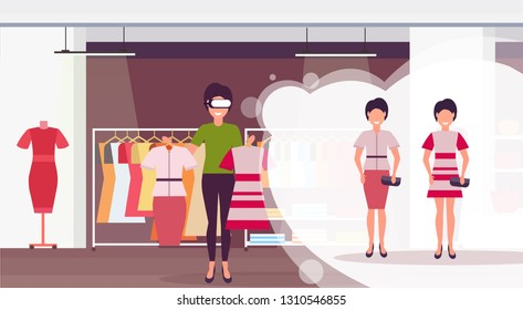 saleswoman holding dress wearing digital glasses virtual reality girls buyers headset vision concept female clothes. shopping mall fashion boutique interior flat horizontal