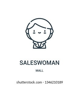 saleswoman icon vector from mall collection. Thin line saleswoman outline icon vector illustration. Linear symbol for use on web and mobile apps, logo, print media.