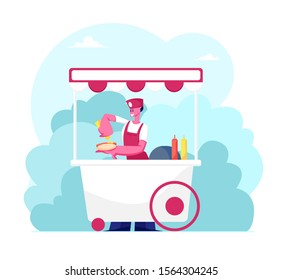 Saleswoman Wearing Uniform Stand in Wheeled Booth with Hotdogs in City Park at Summer Time. Street Food and Beverages Concept. Seller Sell Fastfood to Walking People. Cartoon Flat Vector Illustration