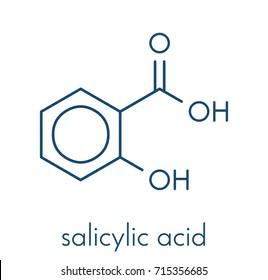 Salicylic acid molecule. Used in cosmetics, in dermatological medicines, etc. Skeletal formula.