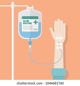 Saline solution bag with patient hand. Flat style vector illustration