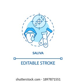 Saliva concept icon. Lab sample idea thin line illustration. Collecting DNA for genetic testing. Laboratory analysis. Biological fluid. Vector isolated outline RGB color drawing. Editable stroke