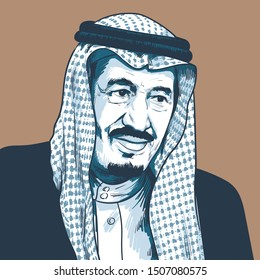Salman bin Abdulaziz Al Saud, King of Saudi Arabia, Prime Minister of Saudi Arabia. Vector Portrait Drawing Illustration. September, 17, 2019