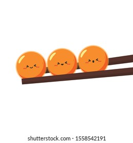 Salmon egg character. Salmon egg on chopsticks. free space for text. copy space.