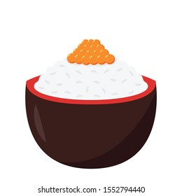 Salmon egg vector.  Salmon egg in rice. free space for text. copy space.