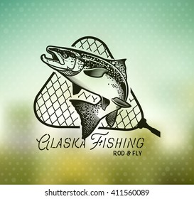 Salmon Emblem on Blur Background