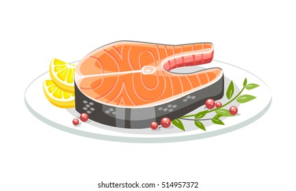 Salmon festive food plate fish dinner